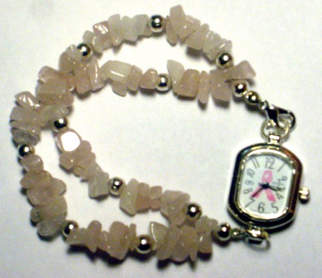 Rose Quartz Pink Ribbon Awareness watch