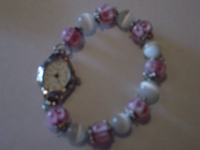 Pretty in Pink Beaded Watch