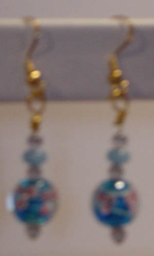 Turquise floral lampworks earrings