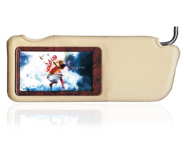 "PAIR 7"" LEATHER WOOD-GRAIN TFT LCD SUNVISOR MONITORS"