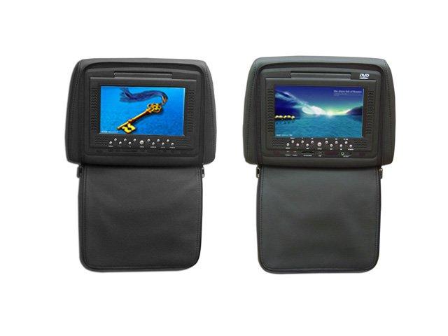 "Pair 7"" LCD TFT Headrests, DVD Player USB/DVD/DVIX/GAME"
