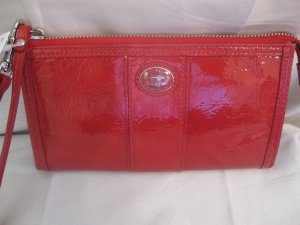 Coach Brand New Patent Leather Zippy Wallet Wristlet 47102 Paprika