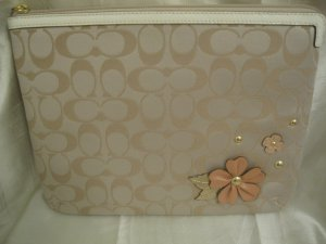 COACH BRAND NEW Signature Tech Flower Floral Applique Case for Ipad Kindle Nook eReader