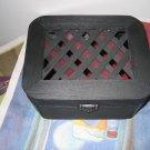 Black Jewelery & Trinket DIY Box with Red Burgundy Ribbon, Black Satin Trim