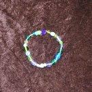 Blue & Green Glass Bead Bracelet: Non-Stretch
