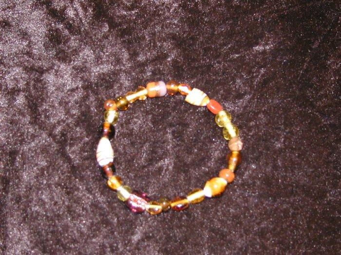 Bronze Glass Bead Bracelet: Stretch