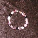 Pink & Black Glass Bead Bracelet: Stretch