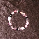 Pink & Black Glass Bead Bracelet: Non-Stretch