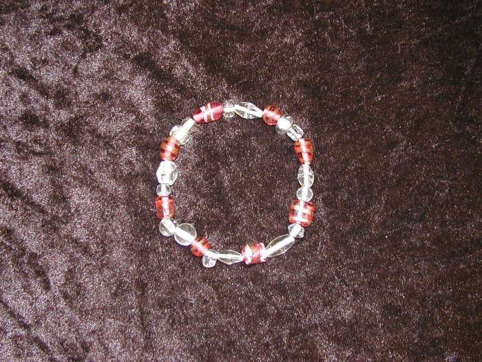 Pink & Clear Glass Bead Bracelet: Stretch
