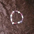 Purple & White Glass Bead Bracelet: Stretch