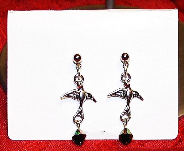 Doves In Flight Earrings - Black
