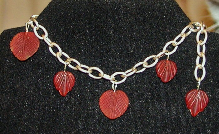 Burgundy Leaves Bracelet