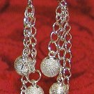 Silver Glitter - Long Dangle Earrings