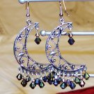 Half  Moon Earrings - Black Drops