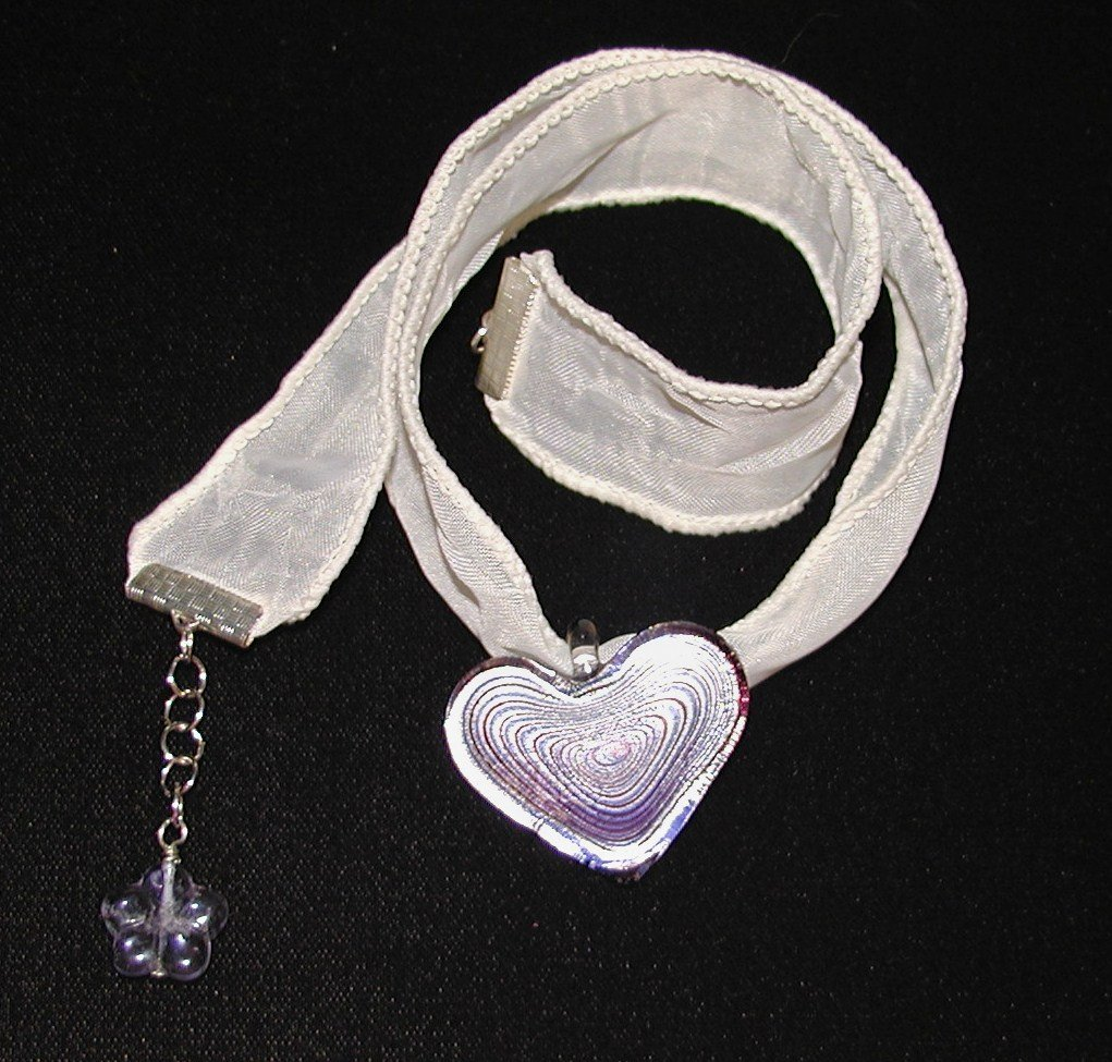 Glass Hearts Ribbon Necklace