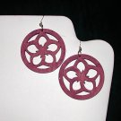 Wooden Flower Earring - Purple
