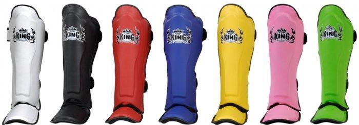 Shin pads (KING) 100% genuine leather KSGPL White