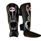 Twins Fancy Shin guards100% genuine leather FSG-10 (BLACK THAI ART)