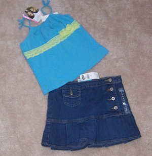 Old Navy Jean Skirt Skort and Mary Kate & Ashlet Top Girls Sz 6 NWT