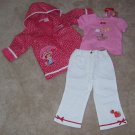 Strawberry Shortcake 3pc Outfit Raincoat Shirt Pants Size 2T