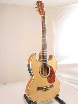 thin line sg acoustic electric double cutaway guitar. Black Bedroom Furniture Sets. Home Design Ideas