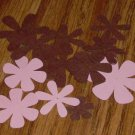 Pink and Brown Flower Die Cuts - 40 pcs