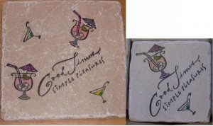 """Good Times Simple Pleasures"" 4 Coasters and Trivet Set"