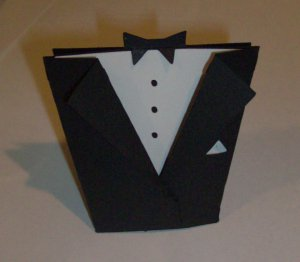 Tuxedo Wedding Favor Box (unfolded)