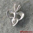 BLACK DIAMOND HEART SHAPED NECKLACE PENDANT WG lp180