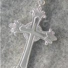 1 1/2 INCH SOLID 14KT WHITE GOLD CROSS CRUCIFIX  lp197