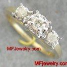 .33ct Yellow Gold Three Stone Diamond Ring 14kt Size 3-9