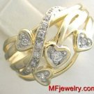 GENUINE DIAMOND RIGHT-HAND CLUSTER RING 10KT YELLOW GOLD lr32