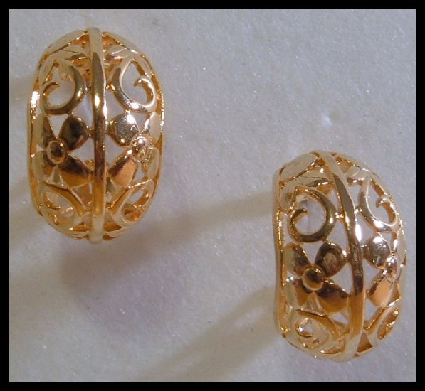 FLORAL GOLDTONE HOOP PIERCED EARRINGS