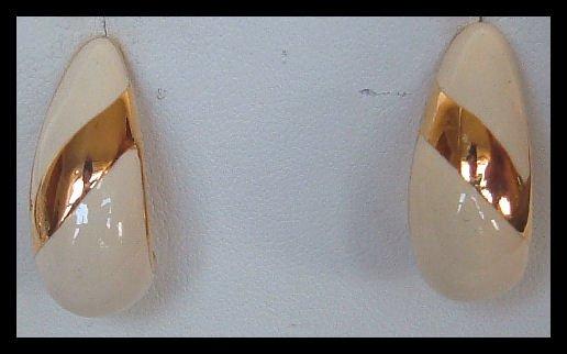 FASHION WHITE ENAMELED PIERCED EARRINGS