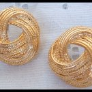 ELEGANT ROPE GOLDTONE HUGGIE PIERCED EARRINGS