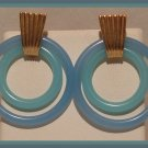 BLUE ACRYLIC DOUBLE HOOP DANGLE CLIP-ON EARRINGS NOS