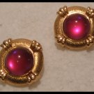 VINTAGE 1980s PURPLE ACRYLIC GOLD TONE CLIP-ON EARRINGS