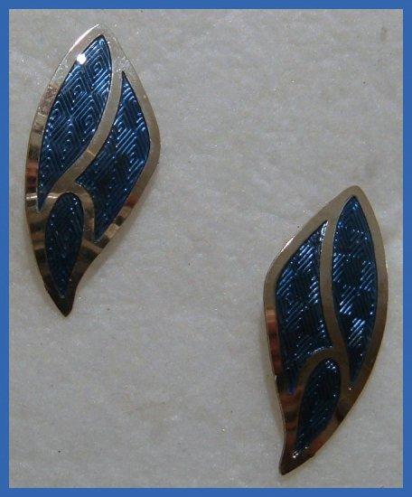 ROYAL BLUE SILVERTON PIERCED EARRINGS VINTAGE 1908s