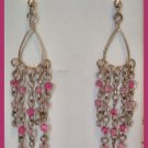 "BEADED SHOULDER SWEEPER DANGLE PIERCED EARRINGS 3.5"" VINTAGE"