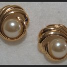"VINTAGE FAUX PEARL HUGGIE PIERCED EARRINGS .90"" NOS"