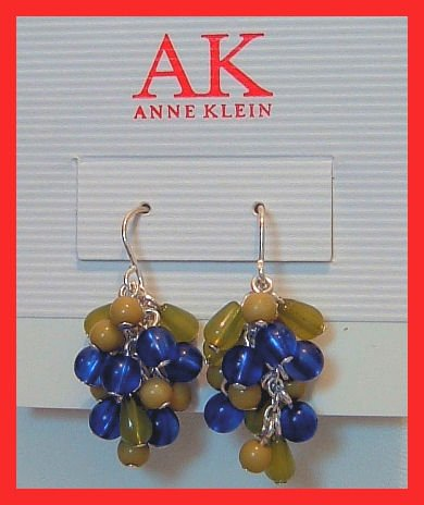 """ANNE KLEIN GLASS BEAD DANGLE PIERCED EARRINGS 1.25"""""""