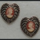 """CAMEO PINK and WHITE HEART PIERCED EARRINGS .90"""" NOS"""