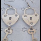LOCK and KEY DANGLE SILVERTONE PIERCED EARRINGS 3.75""