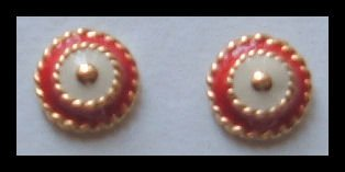 "BUTTON RED & WHITE GOLDTONE HUGGIE PIERCED EARRINGS .50"" VINTAGE 1980s"