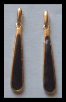 "BLACK ENAMELED DANGLE GOLDTONE PIERCED EARRINGS 1.75"" VINTAGE 1980s"