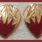 RED ENAMELED HUGGIE GOLDTONE PIERCED EARRINGS
