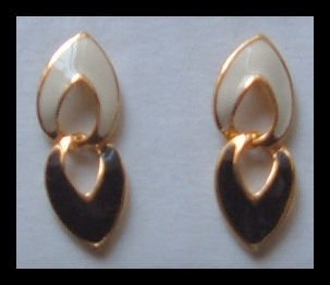 "WHITE & BLACK GOLDTONE DANGLE PIERCED EARRINGS 1.25"" NOS VINTAGE 80s"