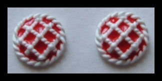 "RED and WHITE ENAMEL HUGGIE BUTTON PIERCED EARRINGS .50"" VINTAGE 1980s"