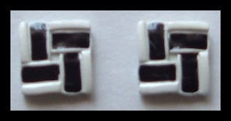 "SQUARE BLACK & WHITE ENAMELED PIERCED EARRINGS .65"" 1980s VINTAGE"