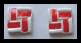 """SQUARE RED and WHITE ENAMEL PIERCED EARRINGS .65"""" VINTAGE 1980s"""